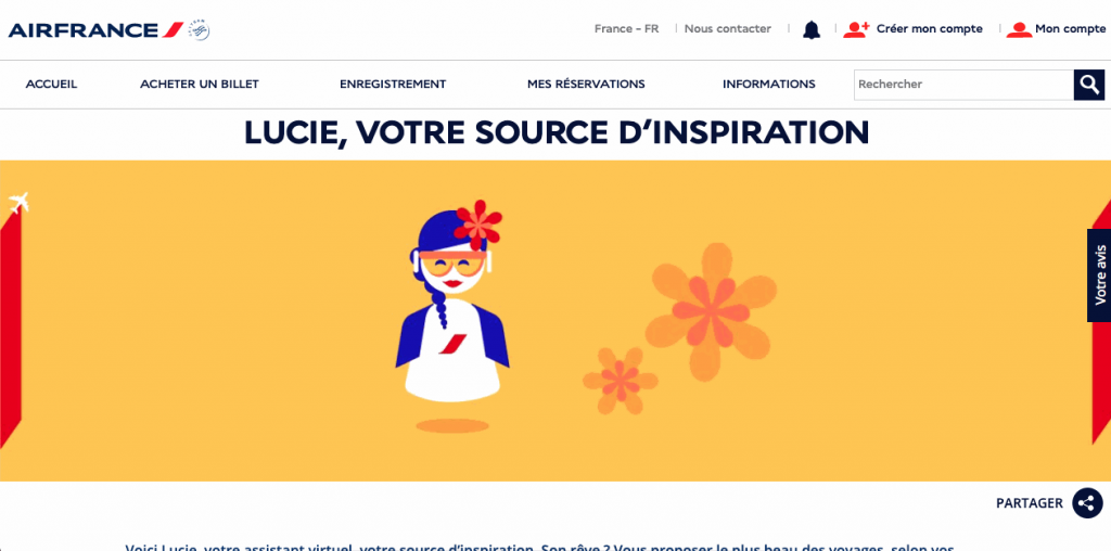 In 2018, Air France created Lucie, a Facebook customer support chatbot designed to help users plan their trips.