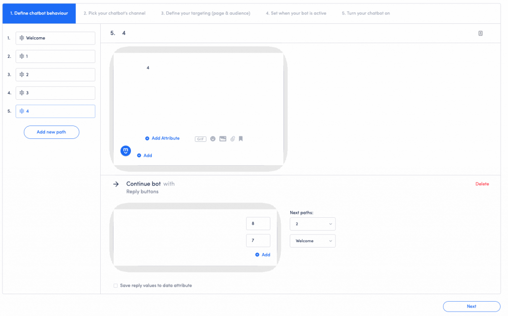 The next step is the process of creating your chatbot's workflow.