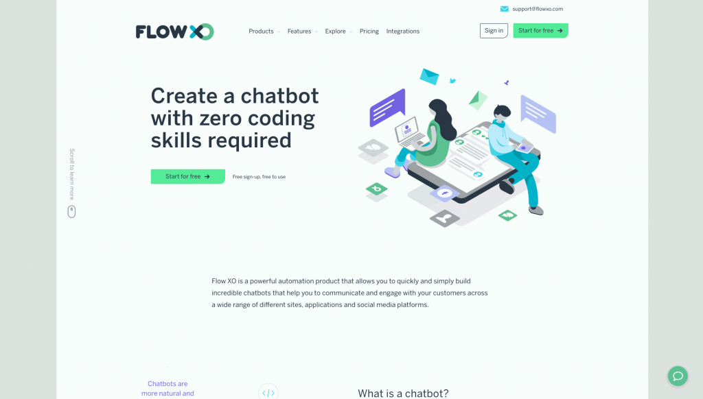 Flow XO is a chatbot building platform that can be used for multiple channels.