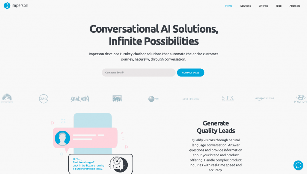 Imperson is a popular chatbot platform with multiple capabilities.