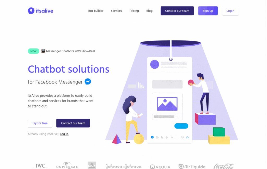ItsAlive is a French startup focusing on simplified chatbot creation for Facebook Messenger.