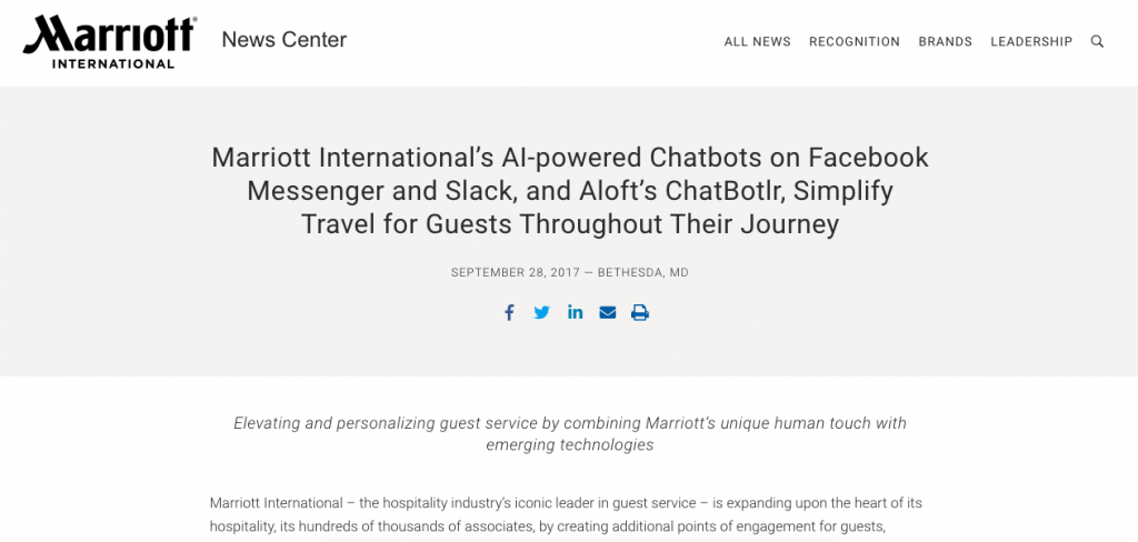 In 2017, Marriot introduced ChatBotler, a chatbot that users could contact through Facebook Messenger, Slack, WeChat, and even SMS.