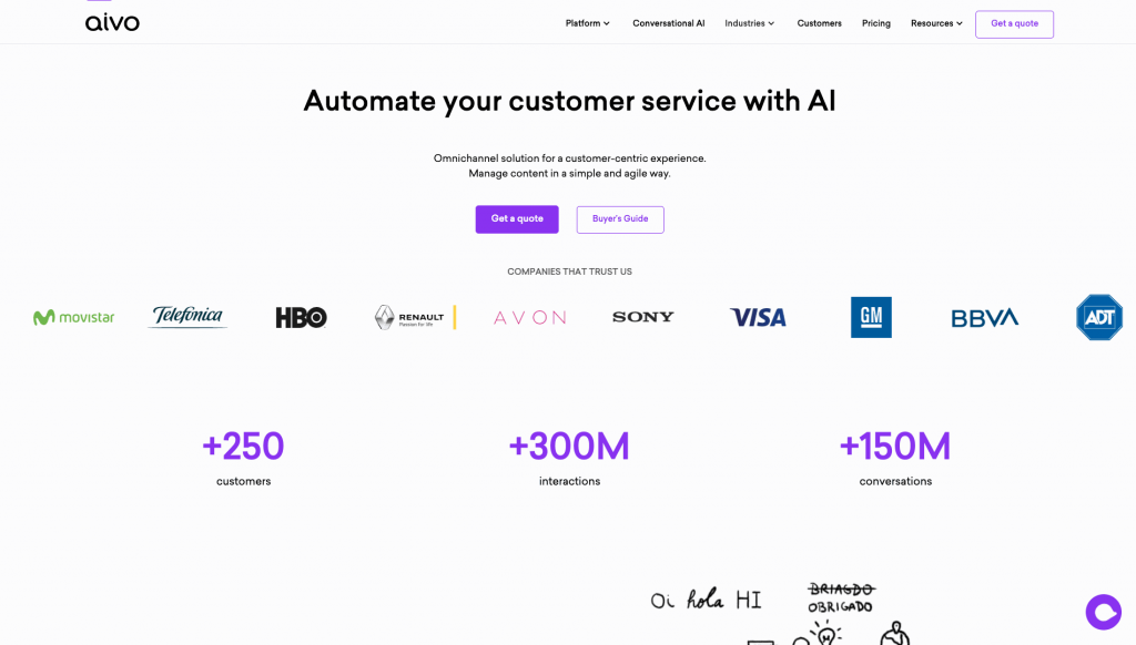 Aivo allows users to build AI-powered chatbots that can engage with customers through voice and text, in multiple languages