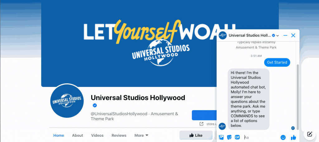 Universal Studios has a powerful Facebook chatbot that users want to interact with.