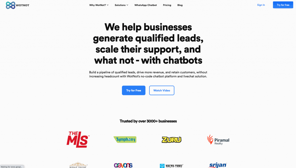 WotNot is no-code chatbot development platform that allows for multichannel chatbot creation.