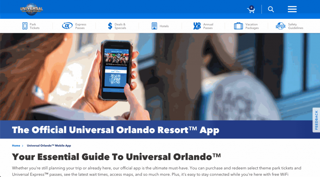 Universal Studios uses in-app messages to enhance their customer experience